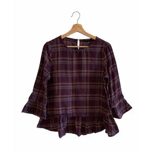 Doe & Rae - Purple Plaid Blouse
